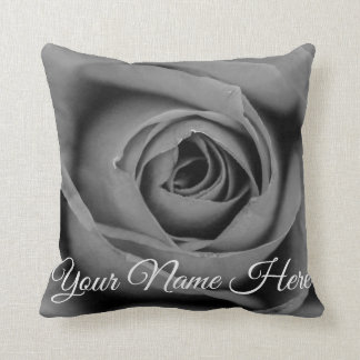 Personalized Monochromatic Rose Throw Pillow
