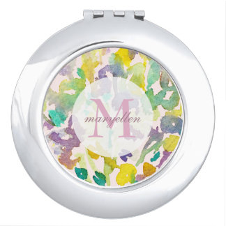 Personalized Monogram Abstract Floral Compact Vanity Mirrors