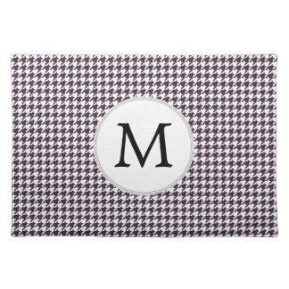 Personalized Monogram Amethyst Houndstooth Patter Place Mats