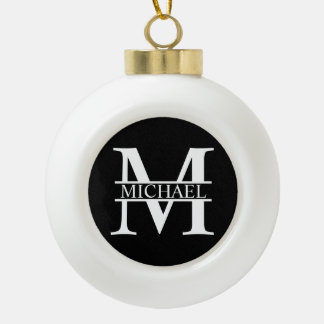 Personalized Monogram and Name Ceramic Ball Christmas Ornament