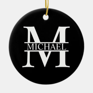 Personalized Monogram and Name Ceramic Ornament