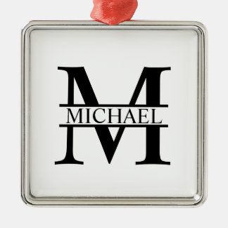 Personalized Monogram and Name Metal Ornament