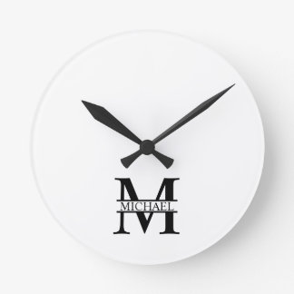 Personalized Monogram and Name Round Clock