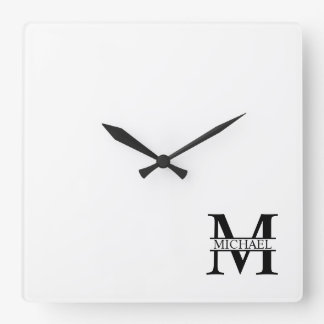 Personalized Monogram and Name Square Wall Clock