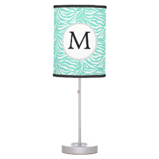 Personalized Monogram Aqua Zebra Stripes Table Lamp