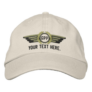 Personalized Monogram Aviation Laurels Pilot Wings Embroidered Hat