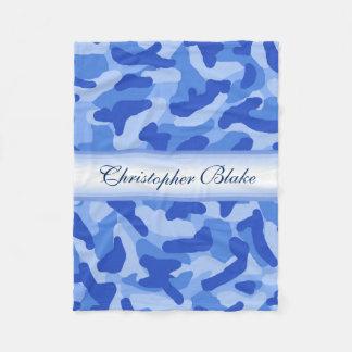 Personalized Monogram Blue Camo Camouflage Fleece Blanket