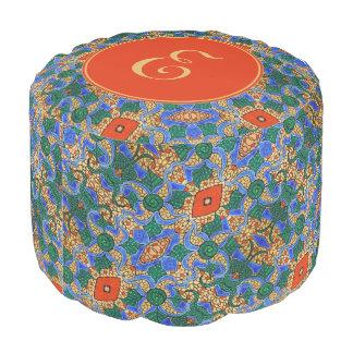 Personalized Monogram Blue  Floral Pattern Pouf