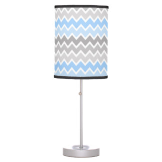 Personalized Monogram Blue Grey Gray Ombre Chevron Table Lamp