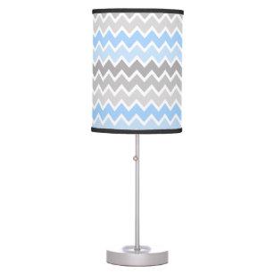 Personalized Monogram Blue Grey Grey Ombre Chevron Table Lamp