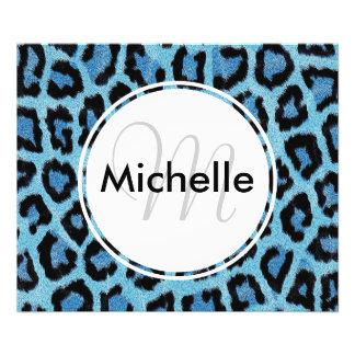 Personalized Monogram Blue Leopard Print Pattern Photo Print
