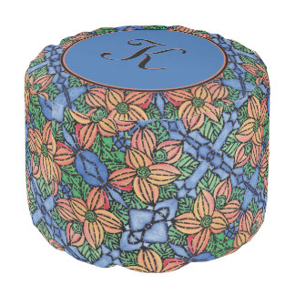 Personalized Monogram Blue Orange   Floral Pattern Pouf