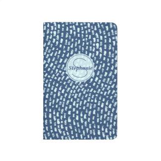 Personalized Monogram Blue Textured Dash Design Journal