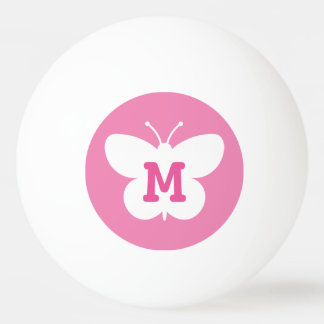 Personalized monogram butterfly ping pong ball