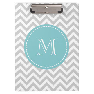 Personalized monogram clipboard with grey chevron