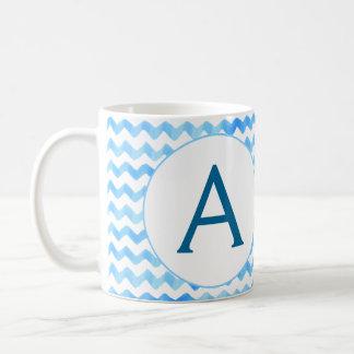 Personalized Monogram Coffee Mug Blue Watercolor