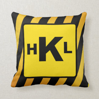 Personalized Monogram Construction stripes Throw Pillow