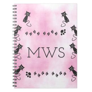 Personalized Monogram Cute Black Cat Illustration Note Book