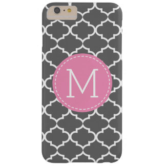 Personalized monogram Dark Gray Quatrefoil Barely There iPhone 6 Plus Case