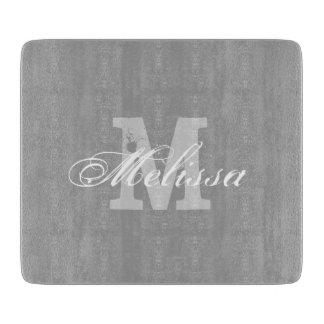Personalized monogram elegant glass cutting board