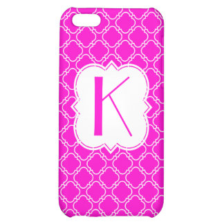 Personalized Monogram Fluorescent Pink Quatrefoil iPhone 5C Cases