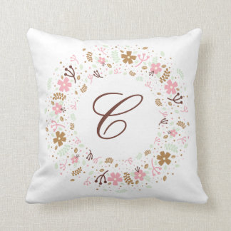 Personalized Monogram Girly Floral Wreath Throw Pillow