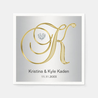 Personalized Monogram Gold Letter K Silver Wedding Disposable Napkin