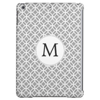 Personalized Monogram Gray Double Rings pattern iPad Air Covers