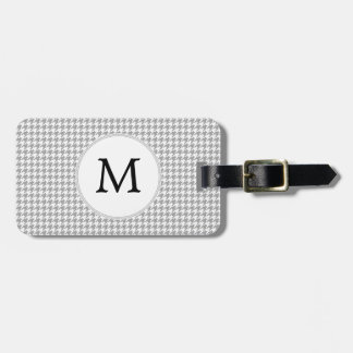 Personalized Monogram Gray Houndstooth Pattern Luggage Tag