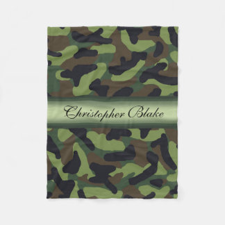 Personalized Monogram Green Camo Camouflage Fleece Blanket