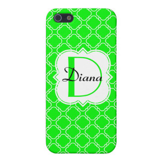 Personalized Monogram Green Fluorescent Quatrefoil Case For iPhone 5/5S