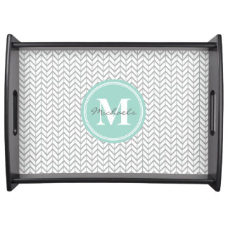Personalized Monogram Grey & Seafoam Geometric Serving Tray