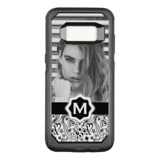 Personalized Monogram Hearts Doodle with Photo OtterBox Commuter Samsung Galaxy S8 Case