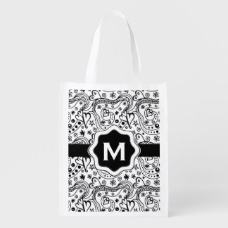 Personalized Monogram Hearts Love Doodle Pattern Reusable Grocery Bag
