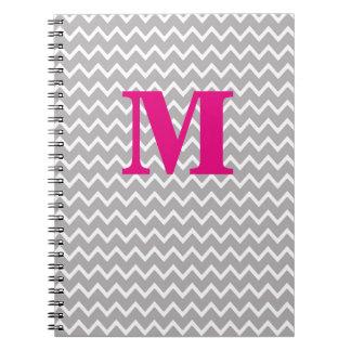 Personalized Monogram Hot Pink Grey Gray Chevron Notebook