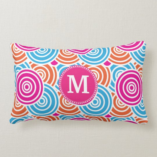 Personalized Monogram Hot Pink Teal Circles Lumbar Pillow