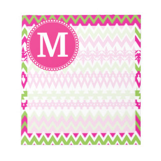 Personalized Monogram Hot Pink Tribal Chevron Notepad