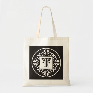 Personalized Monogram In Black and White~Initial T Tote Bag