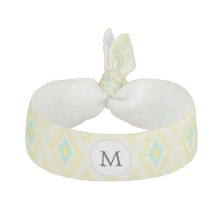 personalized monogram in Ikat yellow and aqua Hair Tie