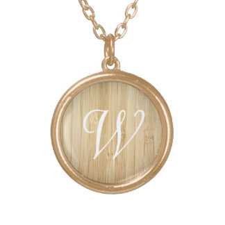 Personalized Monogram Initial Bamboo-Look Round Pendant Necklace