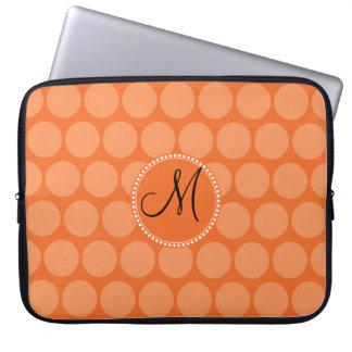 Personalized Monogram Initial Orange Polka Dots Laptop Sleeve