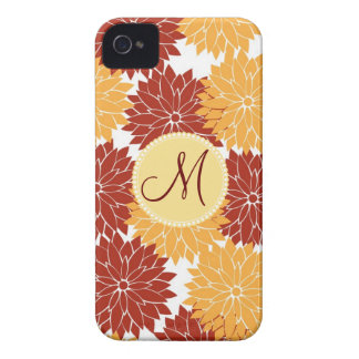 Personalized Monogram Initial Orange Red Flowers iPhone 4 Covers