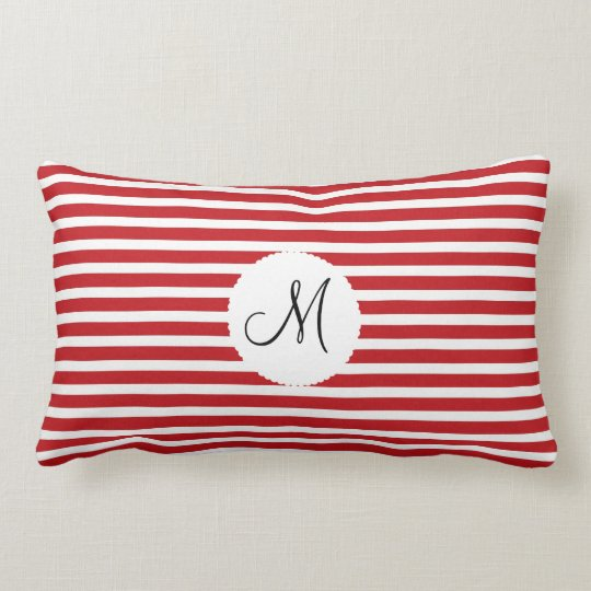 Personalized Monogram Initial Red White Striped Lumbar Pillow