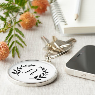 Personalized Monogram Initial Silver Keychain