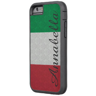 Personalized Monogram Italian Flag Damask Pattern Tough Xtreme iPhone 6 Case