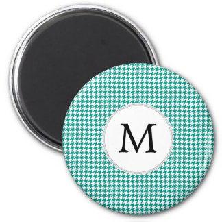 Personalized Monogram Jade Houndstooth Pattern 2 Inch Round Magnet