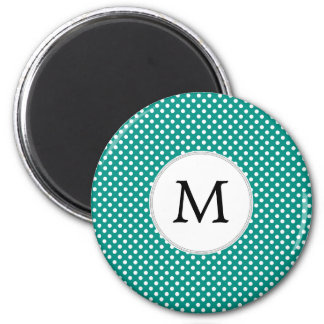Personalized Monogram Jade Polka Dots Pattern 2 Inch Round Magnet