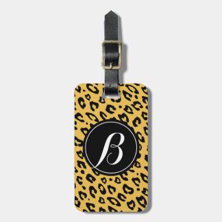 Personalized monogram leopard print luggage tag