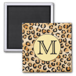 Personalized Monogram Leopard Print Pattern. Magnets
