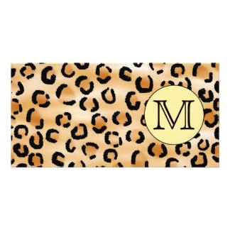 Personalized Monogram Leopard Print Pattern. Photo Cards